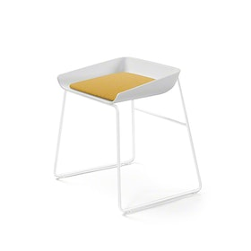 Scoop Low Stool, Yellow Seat, White Frame,Yellow,hi-res