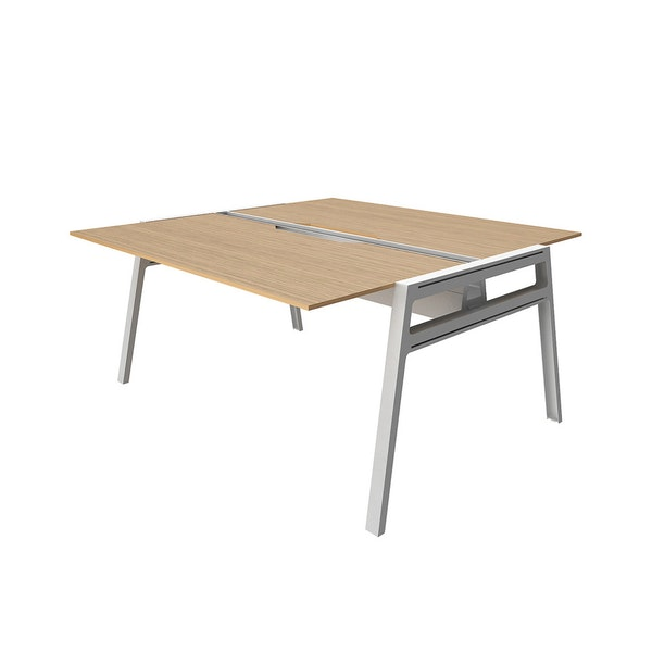 "Bivi Desk For Two, Warm Oak, 60"", White Frame,Warm Oak,hi-res"
