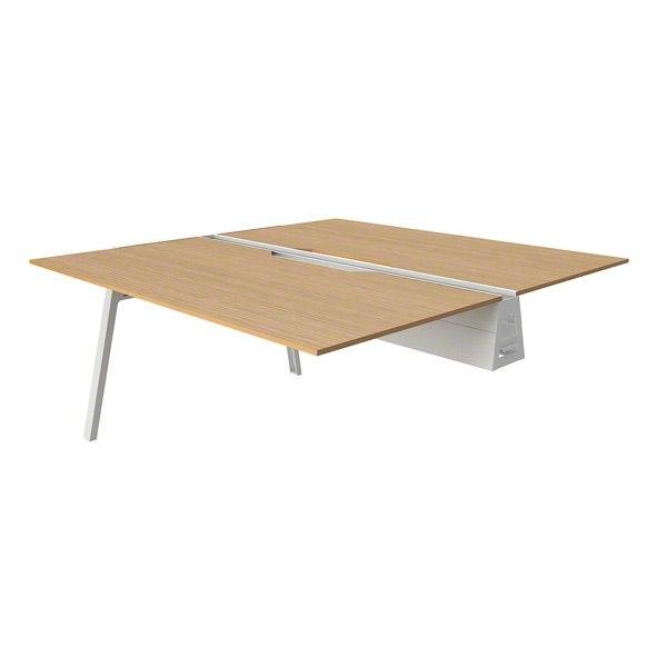 """Bivi Desk Plus Two, Warm Oak, 60"""", White Frame,Warm Oak,hi-res"""