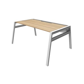 "Bivi Desk For One, Warm Oak, 48"", White Frame,Warm Oak,hi-res"