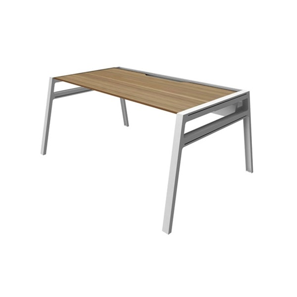 "Bivi Desk For One, Virginia Walnut, 60"", White Frame,Virginia Walnut,hi-res"