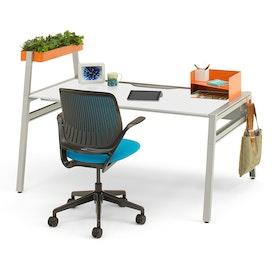 "Bivi Desk For One, White Top, 48"", Silver Frame,White,hi-res"