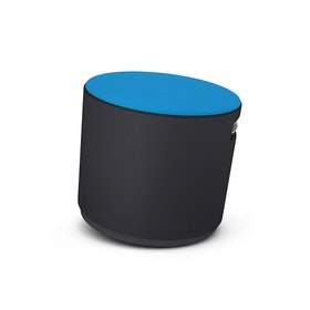 Black Buoy Stool, Blue Seat,Pool Blue,hi-res