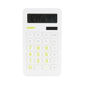 White Eco-Calculator with Lime Green Numbers,Lime Green,hi-res