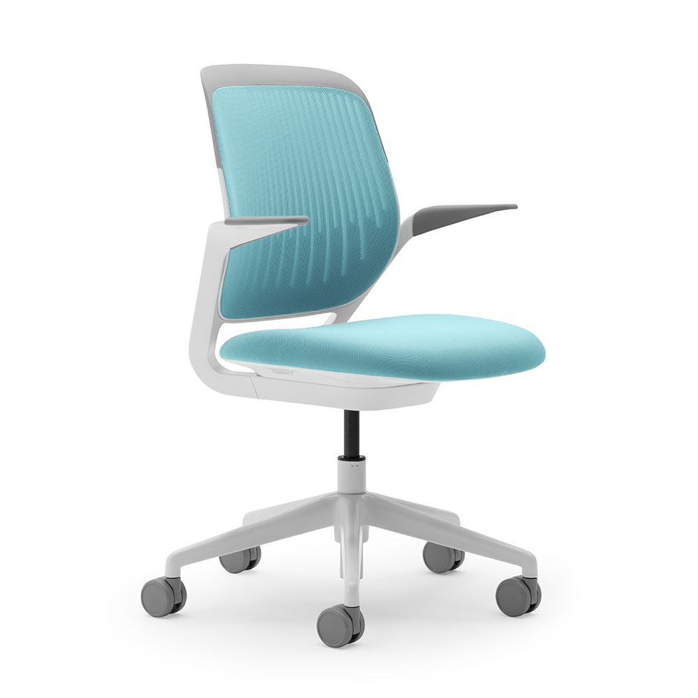 Captivating Aqua Cobi Desk Chair, White Frame,Aqua,hi Res. Loading Zoom