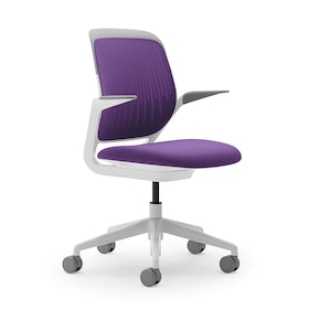 Purple Cobi Desk Chair, White Frame,Purple,hi-res