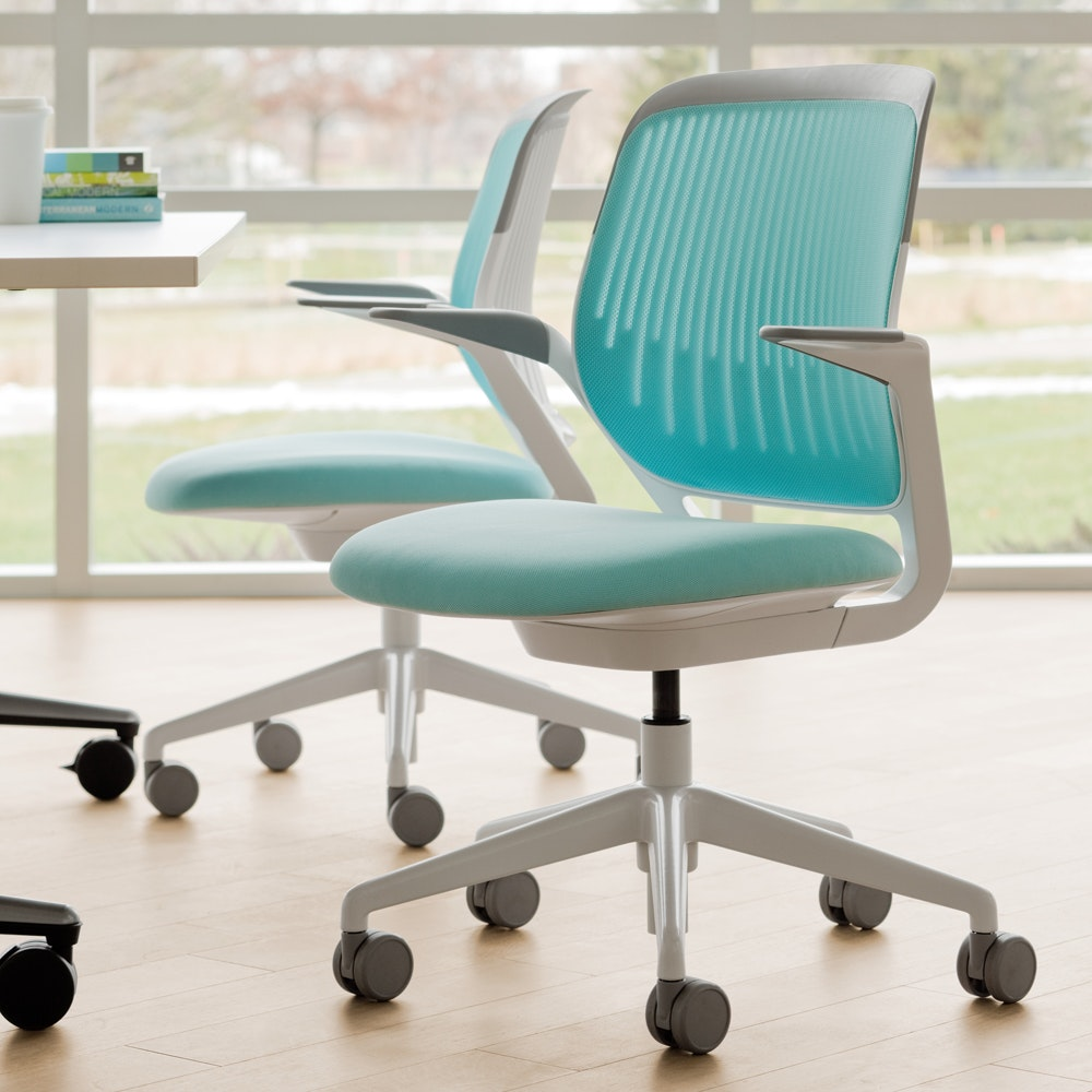 Aqua Cobi Desk Chair, White Frame,Aqua,hi Res ...