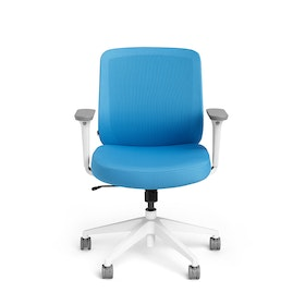 Pool Blue Max Task Chair, Mid Back, White Frame,Pool Blue,hi-res