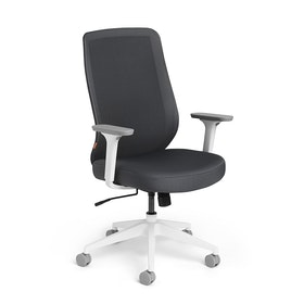 Dark Gray Max Task Chair High Back, White Frame,Dark Gray,hi-res