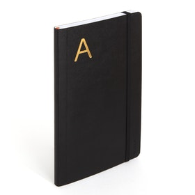 Black Medium Soft Cover Notebook with Gold Initial,,hi-res
