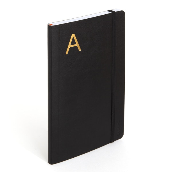 Black Medium Soft Cover Notebook with Gold Initial A,,hi-res