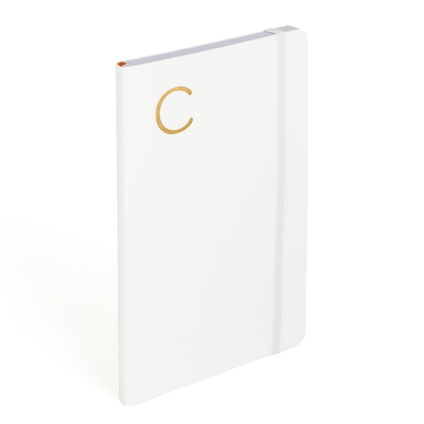 White Medium Soft Cover Notebook with Gold Initial A,,hi-res