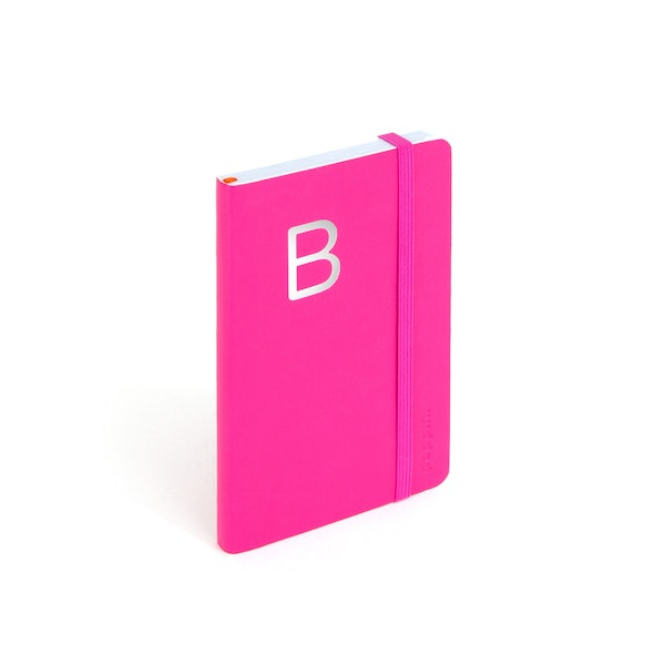Pink Small Soft Cover Notebook with Silver Initial,,hi-res