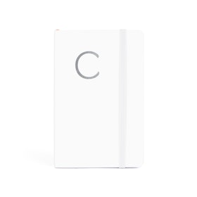 White Small Soft Cover Notebook with Silver Initial,,hi-res