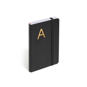 Black Small Soft Cover Notebook with Gold Initial,,hi-res