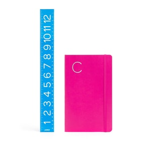 Pink Medium Soft Cover Notebook with Silver Initial,,hi-res