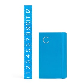 Pool Blue Medium Soft Cover Notebook with Silver Initial,,hi-res