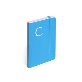 Pool Blue Small Soft Cover Notebook with Silver Initial,,hi-res