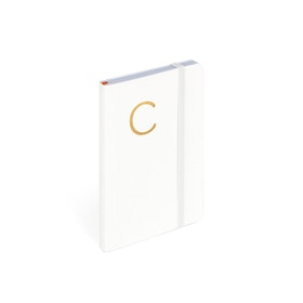 White Small Soft Cover Notebook with Gold Initial,,hi-res