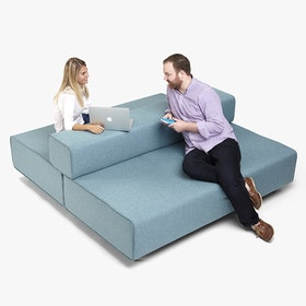 Blue + Dark Gray Block Party Lounge Back It Up Sofa,Blue,hi-res