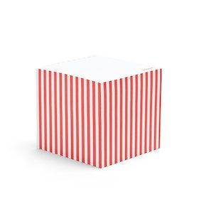 Coral Striped Memo Cube,Coral,hi-res