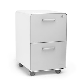 White + Light Gray Stow 2-Drawer File Cabinet, Rolling, Fully Loaded,Light Gray,hi-res