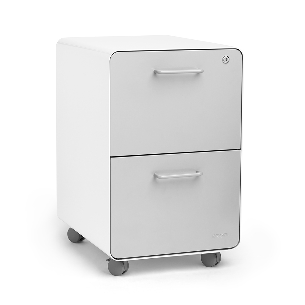 White + Light Gray Stow 2-Drawer File Cabinet, Rolling | Poppin