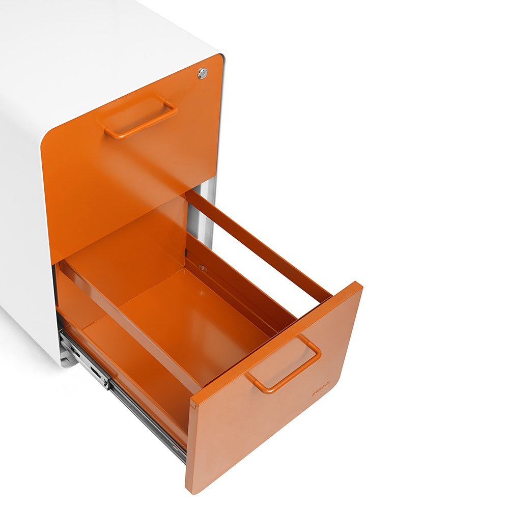 Beau White + Orange Stow 2 Drawer File Cabinet, Rolling,Orange,hi  ...
