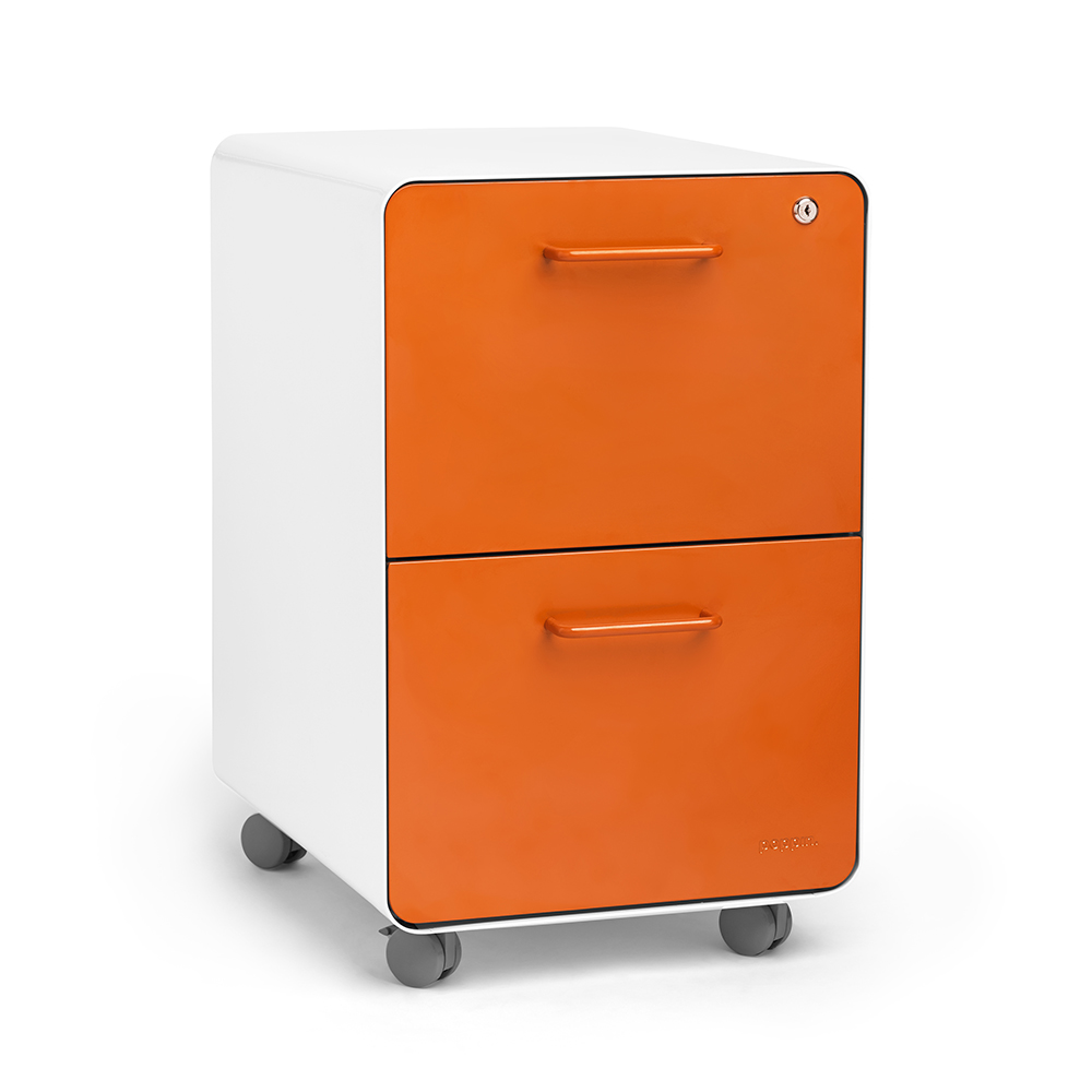 White + Orange Stow 2 Drawer File Cabinet, Rolling | Poppin