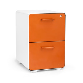 White + Orange Stow 2-Drawer File Cabinet, Fully Loaded,Orange,hi-res