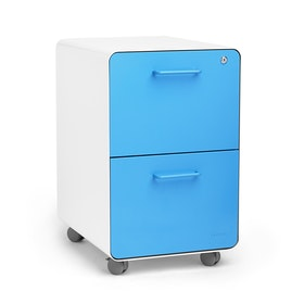 White + Pool Blue Stow 2-Drawer File Cabinet, Rolling, Fully Loaded,Pool Blue,hi-res