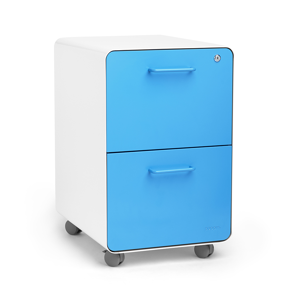 White + Pool Blue Stow 2-Drawer File Cabinet, Rolling | Poppin