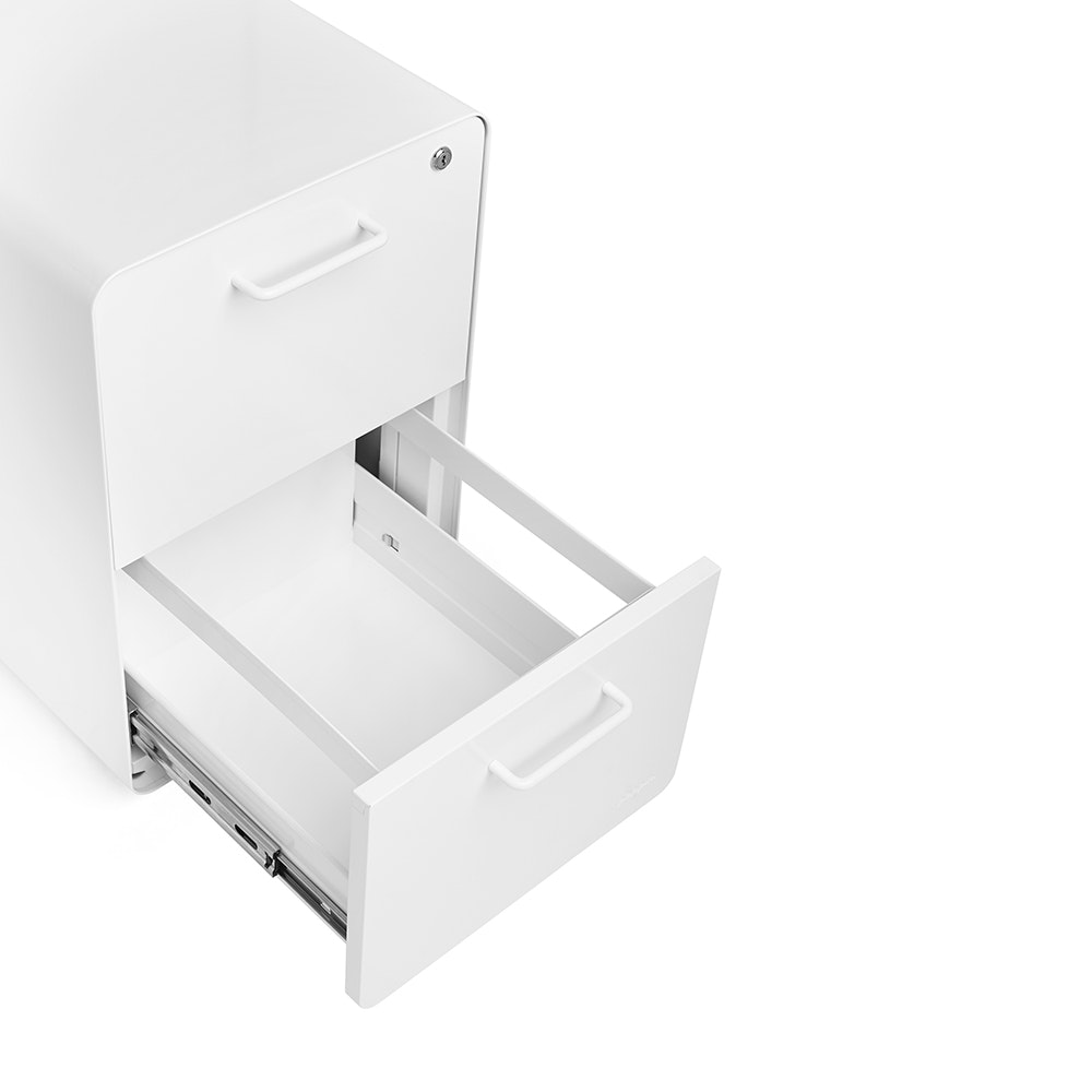 White Stow 2 Drawer File Cabinet, Rolling,White,hi Res ...
