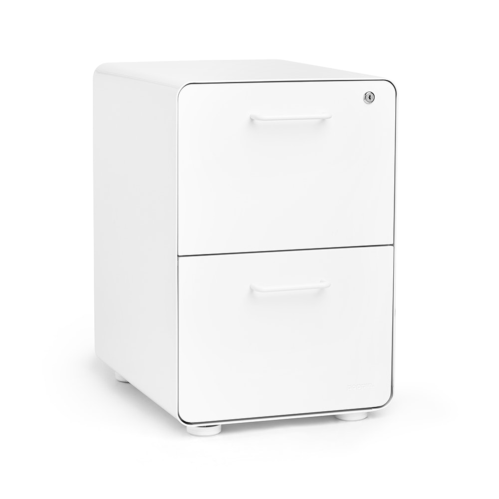 White Stow 2 Drawer File Cabinet, Fully Loaded,White,hi Res