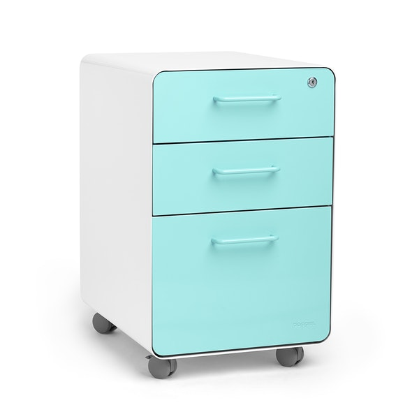 White + Aqua Stow 3-Drawer File Cabinet, Rolling,Aqua,hi-res