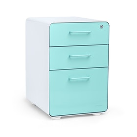 White + Aqua Stow 3-Drawer File Cabinet, Fully Loaded,Aqua,hi-res
