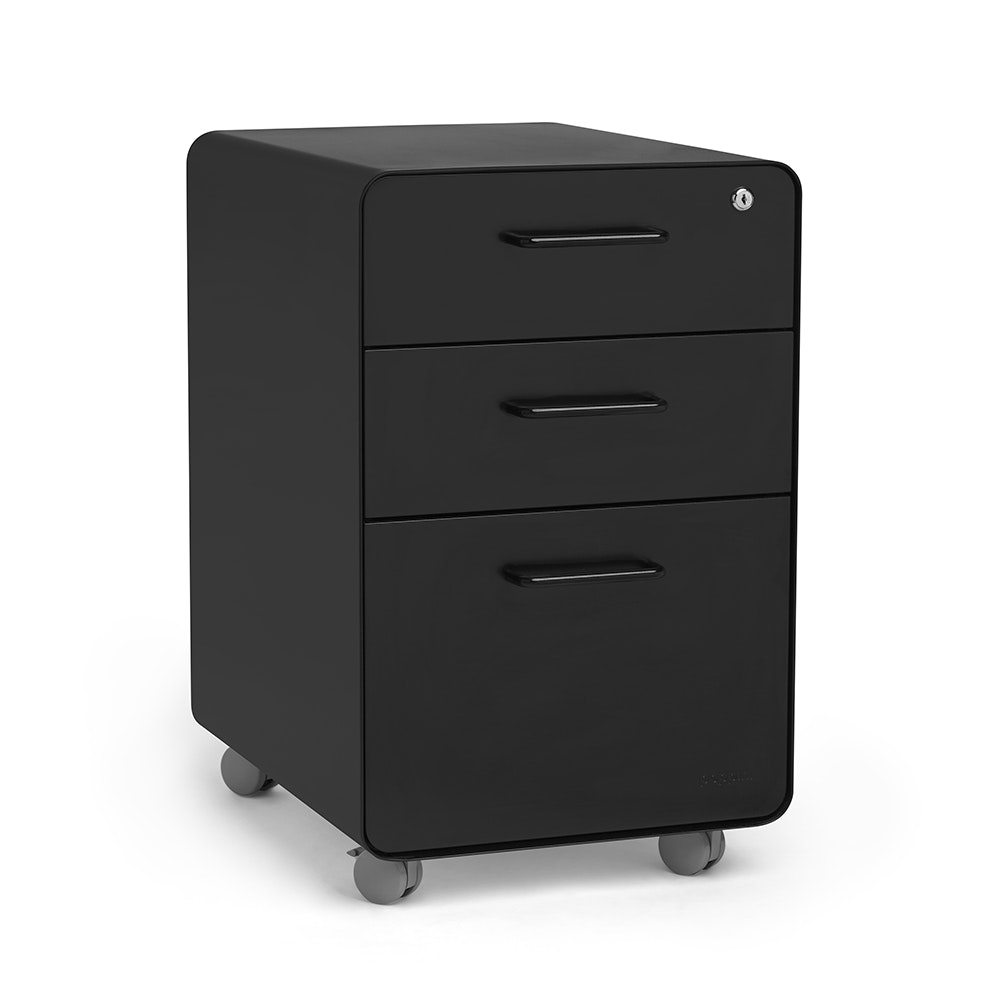 Black Stow 3 Drawer File Cabinet, Rolling