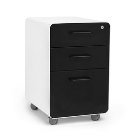 White + Black Stow 3-Drawer File Cabinet, Rolling, Fully Loaded,Black,hi-res