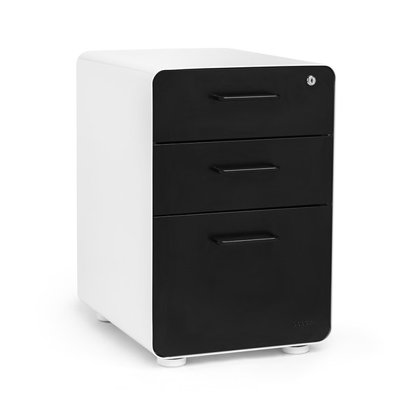 White + Black Stow 3-Drawer File Cabinet, Fully Loaded,Black,hi-res