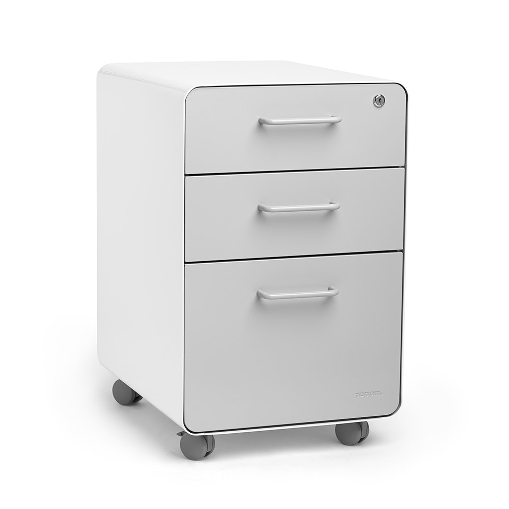 ... White + Light Gray Stow 3 Drawer File Cabinet, Rolling,Light Gray,