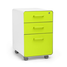 White + Lime Green Stow 3-Drawer File Cabinet, Rolling, Fully Loaded,Lime Green,hi-res