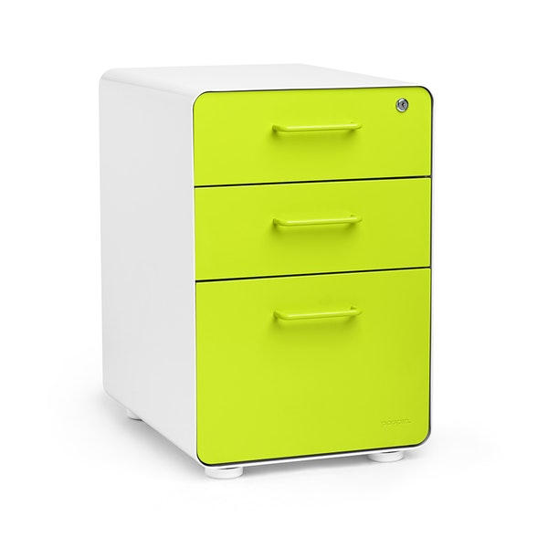 White + Lime Green Stow 3-Drawer File Cabinet, Fully Loaded,Lime Green,hi-res