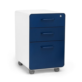 White + Navy Stow 3-Drawer File Cabinet, Rolling, Fully Loaded,Navy,hi-res