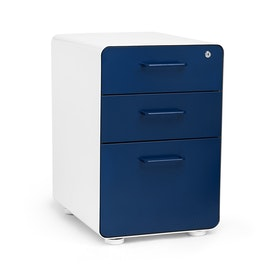 White + Navy Stow 3-Drawer File Cabinet, Fully Loaded,Navy,hi-res