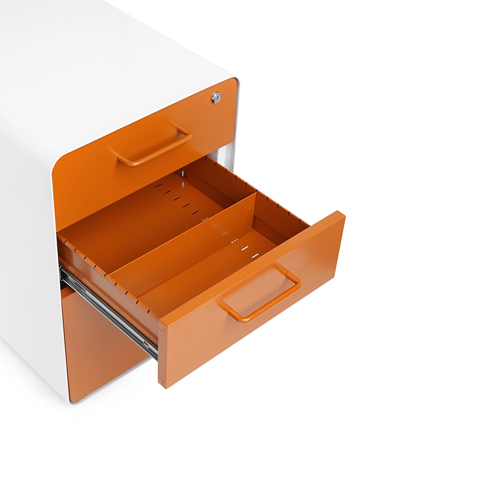 White + Orange Stow 3 Drawer File Cabinet, Rolling,Orange,hi  ...