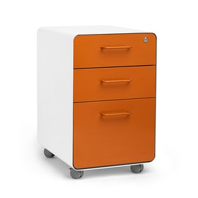 White + Orange Stow 3-Drawer File Cabinet, Rolling, Fully Loaded,Orange,hi-res