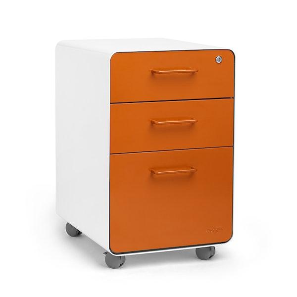 White + Orange Stow 3-Drawer File Cabinet, Rolling,Orange,hi-res