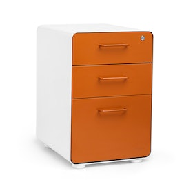 White + Orange Stow 3-Drawer File Cabinet, Fully Loaded,Orange,hi-res