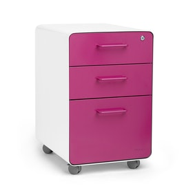 White + Pink Stow 3-Drawer File Cabinet, Rolling, Fully Loaded,Pink,hi-res
