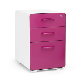 White + Pink Stow 3-Drawer File Cabinet, Fully Loaded,Pink,hi-res